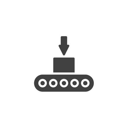 Box loading on conveyor belt vector icon. filled flat sign for mobile concept and web design. Automatic Packing conveyor glyph icon. Symbol, logo illustration. Vector graphics Illustration