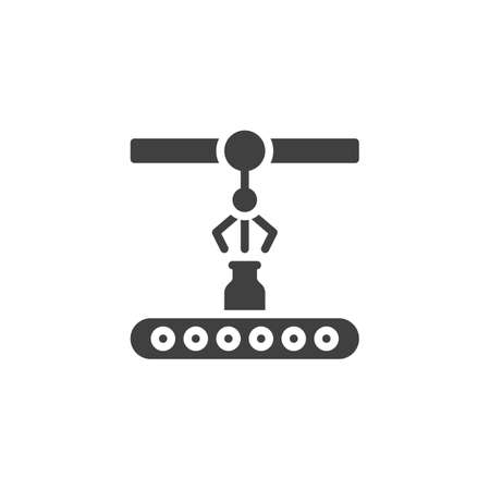 Conveyor belt with bottle vector icon. filled flat sign for mobile concept and web design. Milk factory conveyor glyph icon. Symbol, logo illustration. Vector graphics Çizim