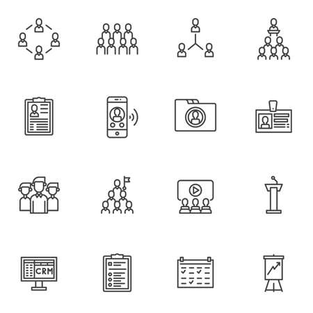 Teamwork group line icons set. linear style symbols collection outline signs pack. vector graphics. Set includes icons as customer relationship management, portfolio, id badge, tribune, business graph