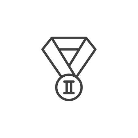 Second place medal line icon. linear style sign for mobile concept and web design. 2nd place award medal outline vector icon. Symbol,  illustration. Vector graphics Illusztráció