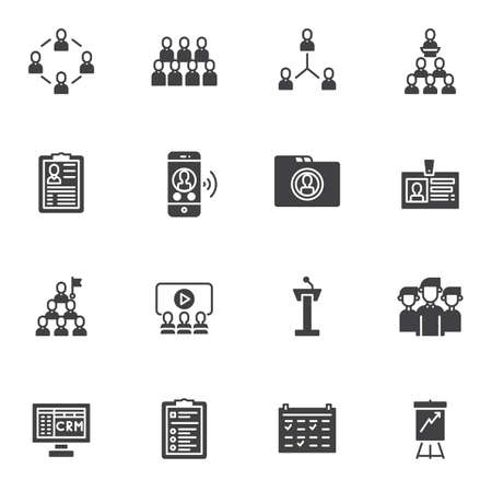 Teamwork group vector icons set, modern solid symbol collection, filled style pictogram pack. Signs,  illustration. Set includes icons as customer relationship management, portfolio, id badge