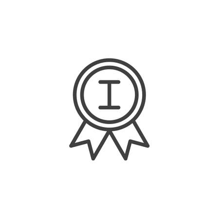 First place medal line icon. linear style sign for mobile concept and web design. 1st place award medal outline vector icon. Symbol,  illustration. Vector graphics