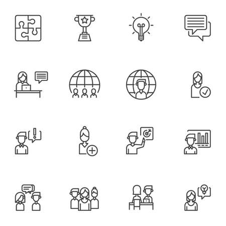 Teamwork skills line icons set. linear style symbols collection, outline signs pack. vector graphics. Set includes icons as idea lamp, award cup, puzzle, presentation, financial graph, interview Ilustracja
