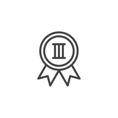 Third place medal line icon. linear style sign for mobile concept and web design. 3st place award medal outline vector icon. Symbol,  illustration. Vector graphics