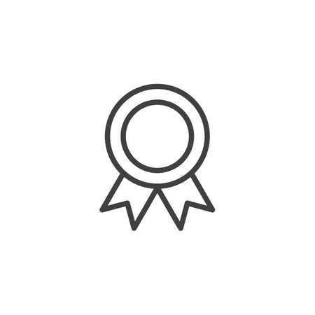 Award medal line icon. linear style sign for mobile concept and web design. Medal with ribbon outline vector icon. Symbol,  illustration. Vector graphics