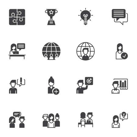 Teamwork skills vector icons set, modern solid symbol collection, filled style pictogram pack. Signs,  illustration. Set includes icons as idea lamp, award cup, puzzle, presentation,  interview