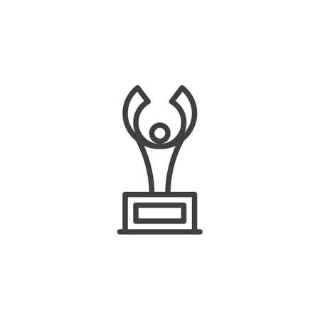 Award cup line icon. linear style sign for mobile concept and web design. Champion trophy cup outline vector icon. Symbol,  illustration. Vector graphics