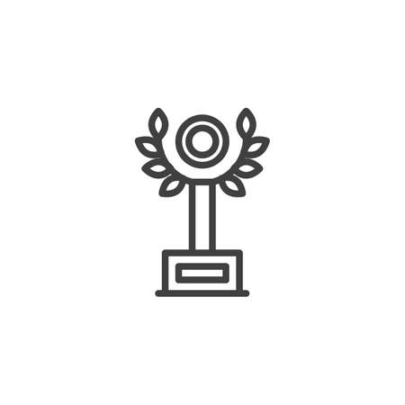 Laurel award cup line icon. linear style sign for mobile concept and web design. Champion trophy outline vector icon. Symbol,  illustration. Vector graphics