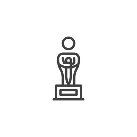 Oscar award trophy line icon. linear style sign for mobile concept and web design. Statue figure award outline vector icon. Symbol,  illustration. Vector graphics