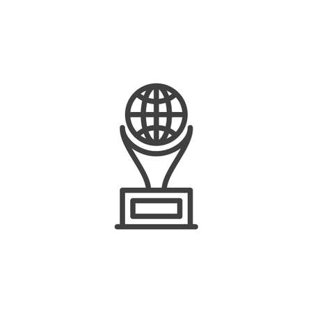 World award cup line icon. linear style sign for mobile concept and web design. World globe Trophy cup outline vector icon. Symbol,  illustration. Vector graphics