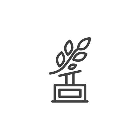 Laurel wreath award cup line icon. linear style sign for mobile concept and web design. Trophy, branch, leaf outline vector icon. Symbol,  illustration. Vector graphics