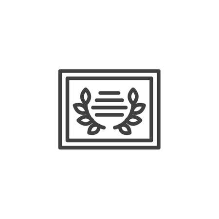 Achievement certificate line icon. linear style sign for mobile concept and web design. Laurel wreath award crtificate outline vector icon. Symbol,  illustration. Vector graphics