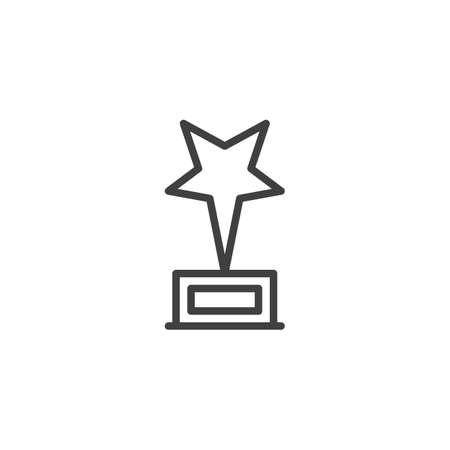 Star trophy line icon. Award star linear style sign for mobile concept and web design. Star prize outline vector icon. Symbol,  illustration. Vector graphics Stock Illustratie