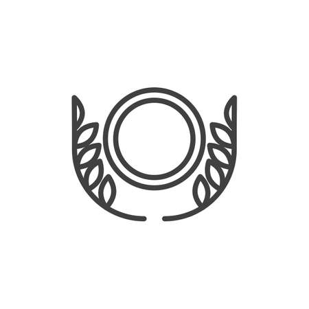 Laurel wreath medal line icon. linear style sign for mobile concept and web design. Award laurel medal outline vector icon. Symbol,  illustration. Vector graphics