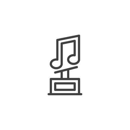 Music Award Trophy line icon. linear style sign for mobile concept and web design. Music note award outline vector icon. Symbol,  illustration. Vector graphics Illusztráció