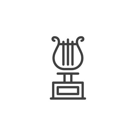 Music award harp line icon. linear style sign for mobile concept and web design. Music Award Trophy outline vector icon. Symbol,  illustration. Vector graphics Illusztráció