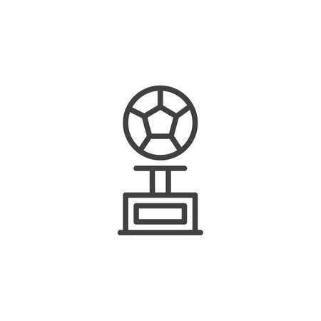 Football cup line icon. linear style sign for mobile concept and web design. Soccer ball award trophy outline vector icon. Symbol,  illustration. Vector graphics Illusztráció