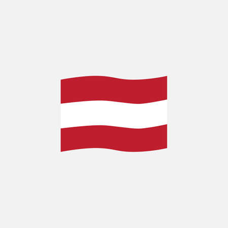 Austria flag colors flat icon, vector sign, Austria waving flag colorful pictogram isolated on white. Symbol,  illustration. Flat style design