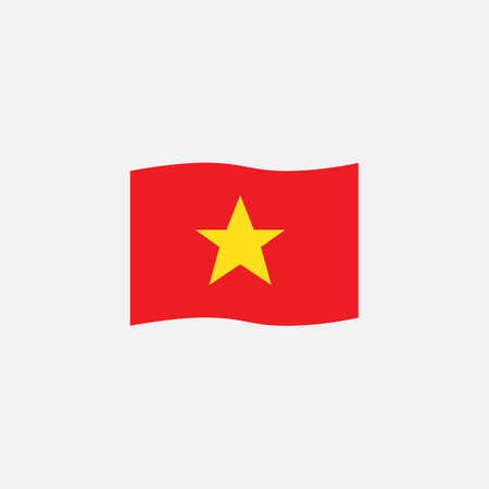Vietnam flag colors flat icon, vector sign, Vietnam waving flag colorful pictogram isolated on white. Symbol,  illustration. Flat style design