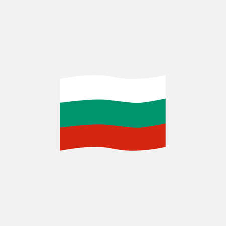 Bulgaria flag colors flat icon, vector sign, Bulgaria waving flag colorful pictogram isolated on white. Symbol,  illustration. Flat style design