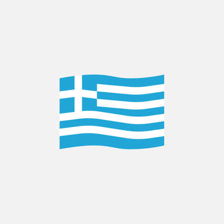 Greece flag colors flat icon, vector sign, Greece waving flag colorful pictogram isolated on white. Symbol,  illustration. Flat style design