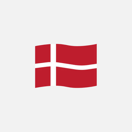 Denmark flag colors flat icon, vector sign, Waving flag of Denmark colorful pictogram isolated on white. Symbol,  illustration. Flat style design Illusztráció