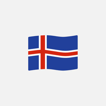 Iceland flag colors flat icon, vector sign, Waving flag of Iceland colorful pictogram isolated on white. Symbol,  illustration. Flat style design