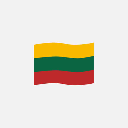 Lithuania flag colors flat icon, vector sign, waving flag of Lithuania colorful pictogram isolated on white. Symbol,  illustration. Flat style design