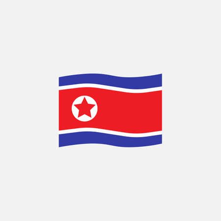 North Korea flag colors flat icon, vector sign, waving flag of DPRK colorful pictogram isolated on white. Symbol,  illustration. Flat style design