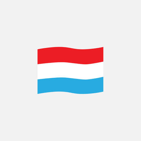 Luxembourg flag colors flat icon, vector sign, waving flag of Luxembourg colorful pictogram isolated on white. Symbol,  illustration. Flat style design
