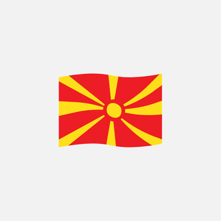 Macedonia flag colors flat icon, vector sign, waving flag of Macedonia colorful pictogram isolated on white. Symbol,  illustration. Flat style design