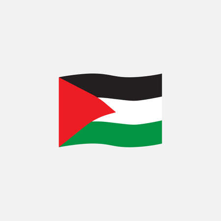 Palestine flag colors flat icon, vector sign, waving flag of Palestine colorful pictogram isolated on white. Symbol,  illustration. Flat style design