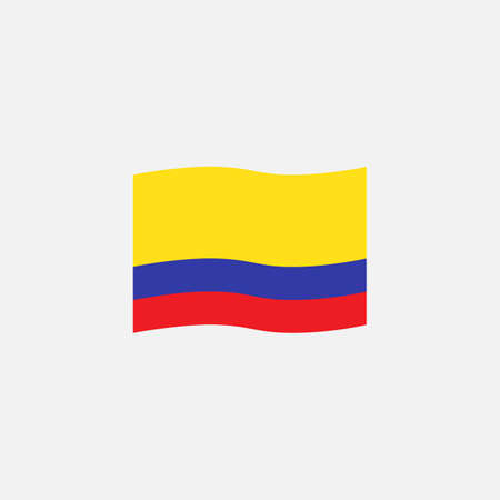 Colombia flag colors flat icon, vector sign, waving flag of Colombia colorful pictogram isolated on white. Symbol,  illustration. Flat style design