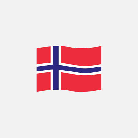 Norway flag colors flat icon, vector sign, waving flag of Norway colorful pictogram isolated on white. Symbol,  illustration. Flat style design