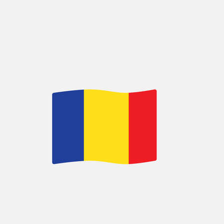 Romania flag colors flat icon, vector sign, waving flag of Romania colorful pictogram isolated on white. Symbol,  illustration. Flat style design