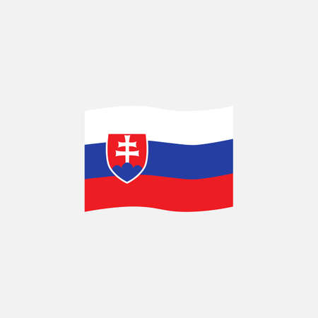 Slovakia flag colors flat icon, vector sign, waving flag of Slovakia colorful pictogram isolated on white. Symbol,  illustration. Flat style design