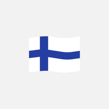 Finland flag colors flat icon, vector sign, waving flag of Finland colorful pictogram isolated on white. Symbol,  illustration. Flat style design Ilustrace