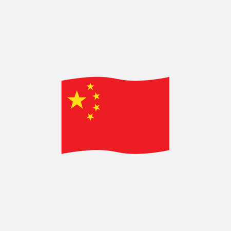 Chinese flag colors flat icon, vector sign, waving flag of China colorful pictogram isolated on white. Symbol,  illustration. Flat style design