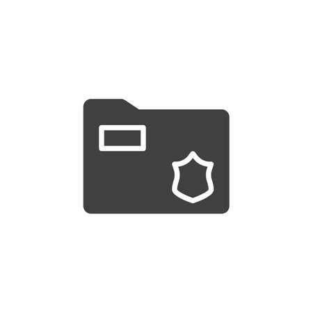 Secret files folder vector icon. filled flat sign for mobile concept and web design. Police document folder glyph icon. Symbol,  illustration. Vector graphics