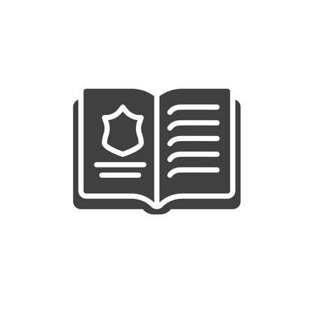 Police book vector icon. filled flat sign for mobile concept and web design. Law book glyph icon. Symbol,  illustration. Vector graphics Ilustracja