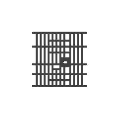 Prison jail vector icon. filled flat sign for mobile concept and web design. Locked jail door glyph icon. Symbol,  illustration. Vector graphics Illusztráció
