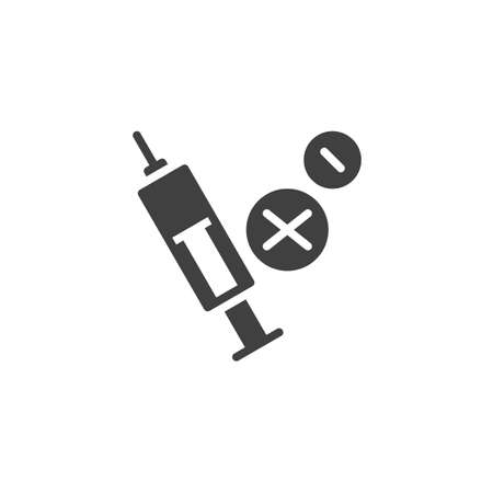 Syringe and tablets vector icon. filled flat sign for mobile concept and web design. Evidence drugs glyph icon. Symbol,  illustration. Vector graphics Ilustracja