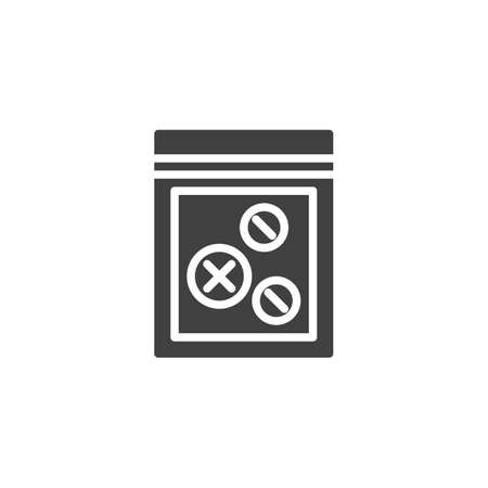 Tablets pack vector icon. filled flat sign for mobile concept and web design. Evidence drugs glyph icon. Symbol,  illustration. Vector graphics