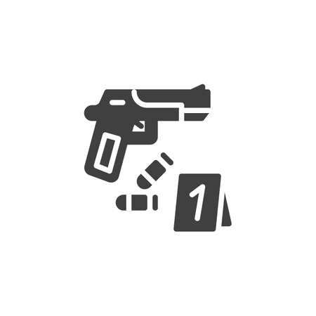 Crime scene, evidence vector icon. filled flat sign for mobile concept and web design. Gun and bullets, evidence glyph icon. Symbol,  illustration. Vector graphics