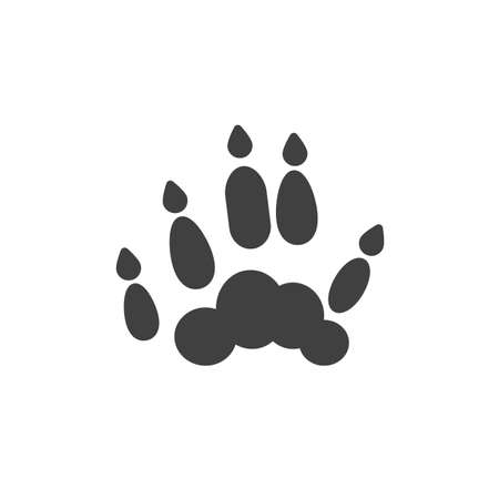 Ferret paw print vector icon. filled flat sign for mobile concept and web design. Polecat animal footprint glyph icon. Symbol,  illustration. Vector graphics Illustration