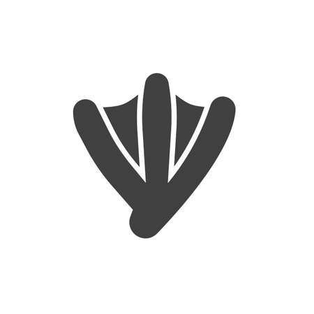 Goose paw print vector icon. filled flat sign for mobile concept and web design. Waterbird goose footprint glyph icon. Symbol,  illustration. Vector graphics