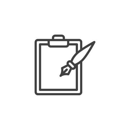 Ink pen and paper clipboard line icon. linear style sign for mobile concept and web design. Note pad and ink pen outline vector icon. Writing form symbol,  illustration. Vector graphics
