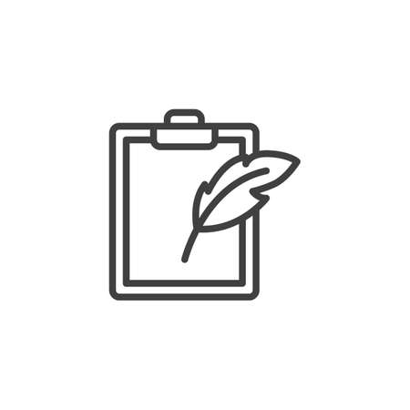 Feather pen and paper clipboard line icon. linear style sign for mobile concept and web design. Note pad and quill pen outline vector icon. Writing form symbol,  illustration. Vector graphics Ilustração