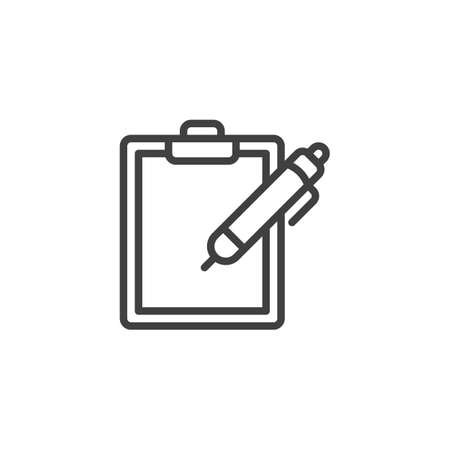 Pen and paper clipboard line icon. linear style sign for mobile concept and web design. Note pad and pencil outline vector icon. Writing form symbol,  illustration. Vector graphics