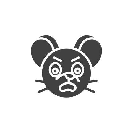 Annoyed rat emoticon vector icon. filled flat sign for mobile concept and web design. Angry mouse face emoji glyph icon. Chinese 2020 year of the rat symbol,  illustration. Vector graphics